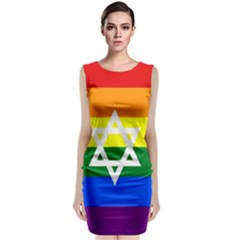 Gay Pride Israel Flag Sleeveless Velvet Midi Dress by Valentinaart