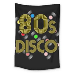 80s Disco Vinyl Records Large Tapestry