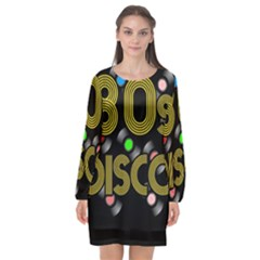 80s Disco Vinyl Records Long Sleeve Chiffon Shift Dress  by Valentinaart