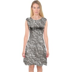 Crumpled Foil 17b Capsleeve Midi Dress by MoreColorsinLife
