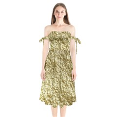 Crumpled Foil 17c Shoulder Tie Bardot Midi Dress by MoreColorsinLife