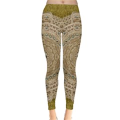 Golden Forest Silver Tree In Wood Mandala Leggings  by pepitasart