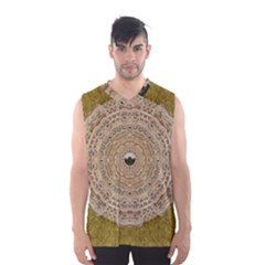 Golden Forest Silver Tree In Wood Mandala Men s Basketball Tank Top by pepitasart