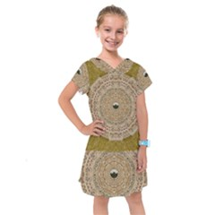Golden Forest Silver Tree In Wood Mandala Kids  Drop Waist Dress by pepitasart