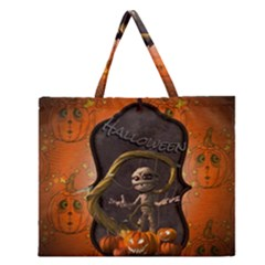 Halloween, Funny Mummy With Pumpkins Zipper Large Tote Bag by FantasyWorld7