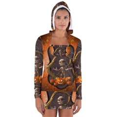 Halloween, Funny Mummy With Pumpkins Long Sleeve Hooded T Shirt by FantasyWorld7