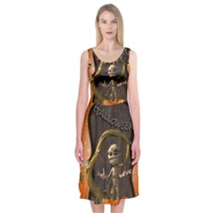 Halloween, Funny Mummy With Pumpkins Midi Sleeveless Dress