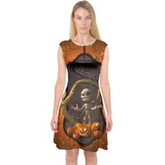 Halloween, Funny Mummy With Pumpkins Capsleeve Midi Dress by FantasyWorld7