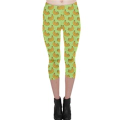 Green And Yellow Banana Bunch Pattern Capri Leggings  by NorthernWhimsy