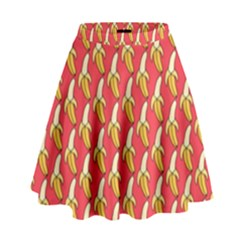 Bright Pink And Yellow Peeled Banana Patterns High Waist Skirt by NorthernWhimsy