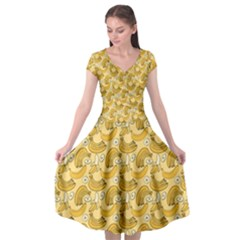 Yellow Banana Pattern Cap Sleeve Wrap Front Dress
