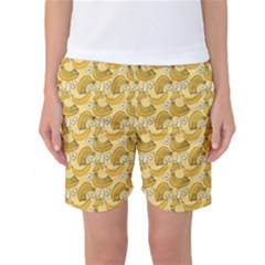 Yellow Banana Pattern Women s Basketball Shorts by NorthernWhimsy