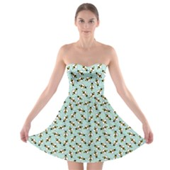 Blue Honeybee Pattern Strapless Bra Top Dress