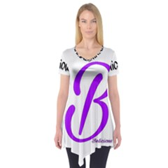 Belicious World  b  Purple Short Sleeve Tunic  by beliciousworld