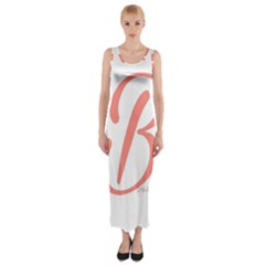 Belicious World  b  In Coral Fitted Maxi Dress by beliciousworld