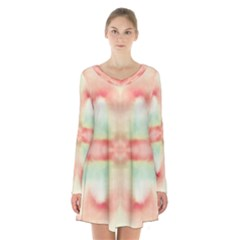 Pink And Mint Abstract Watercolor Long Sleeve Velvet V-neck Dress by NorthernWhimsy