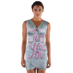 Letters Quotes Grunge Style Design Wrap Front Bodycon Dress by dflcprints