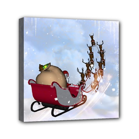 Christmas, Santa Claus With Reindeer Mini Canvas 6  X 6  by FantasyWorld7