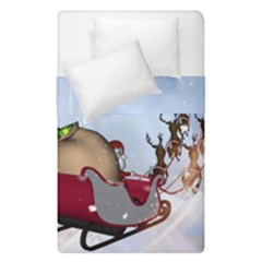 Christmas, Santa Claus With Reindeer Duvet Cover Double Side (single Size) by FantasyWorld7