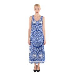 Blue Mandala Art Pattern Sleeveless Maxi Dress