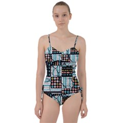 Distressed Pattern Sweetheart Tankini Set