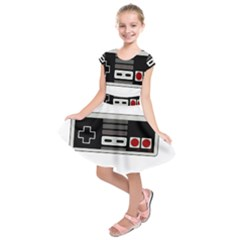 Video Game Controller 80s Kids  Short Sleeve Dress by Valentinaart