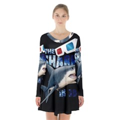 The Shark Movie Long Sleeve Velvet V Neck Dress