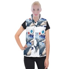 The Shark Movie Women s Button Up Puffer Vest by Valentinaart