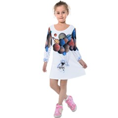 Planets  Kids  Long Sleeve Velvet Dress by Valentinaart