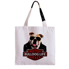 Bulldog Biker Zipper Grocery Tote Bag