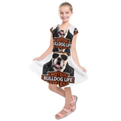 Bulldog Biker Kids  Short Sleeve Dress by Valentinaart