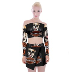 Bulldog Biker Off Shoulder Top With Skirt Set