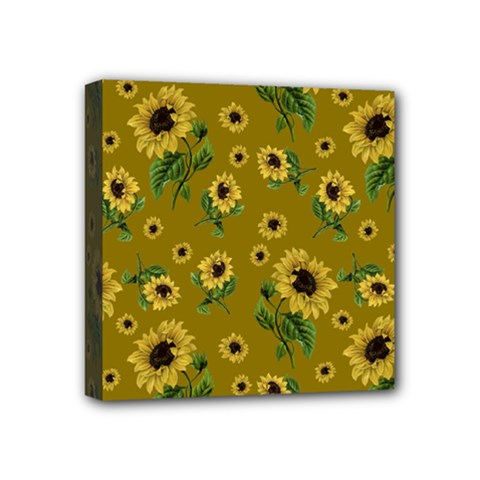 Sunflowers Pattern Mini Canvas 4  X 4  by Valentinaart