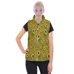 Sunflowers Pattern Women s Button Up Puffer Vest
