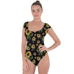 Sunflowers Pattern Short Sleeve Leotard