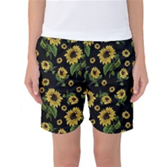 Sunflowers Pattern Women s Basketball Shorts by Valentinaart