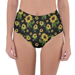 Sunflowers Pattern Reversible High Waist Bikini Bottoms