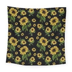 Sunflowers Pattern Square Tapestry (large) by Valentinaart
