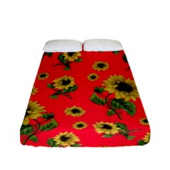 Sunflowers Pattern Fitted Sheet (full/ Double Size) by Valentinaart