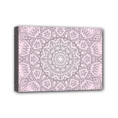 Pink Mandala art  Mini Canvas 7  x 5