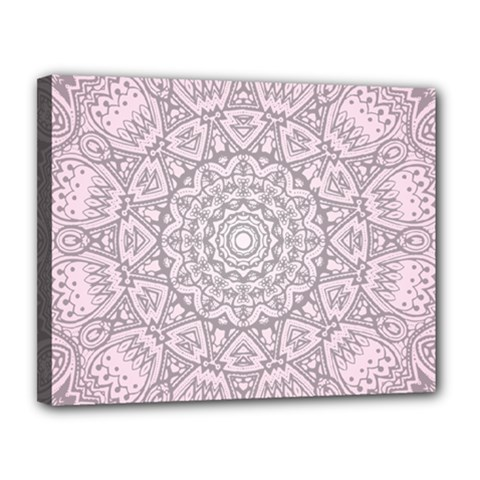 Pink Mandala art  Canvas 14  x 11