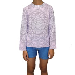 Pink Mandala art  Kids  Long Sleeve Swimwear