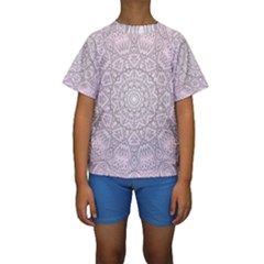Pink Mandala art  Kids  Short Sleeve Swimwear