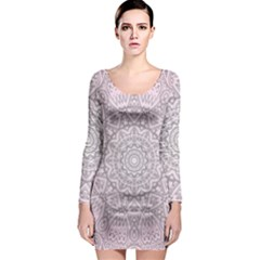 Pink Mandala art  Long Sleeve Bodycon Dress