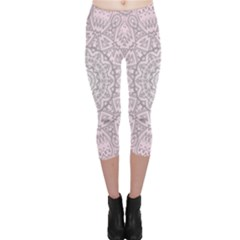 Pink Mandala art  Capri Leggings