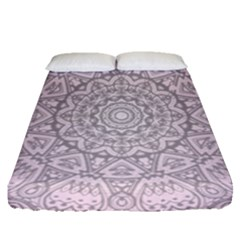 Pink Mandala art  Fitted Sheet (Queen Size)