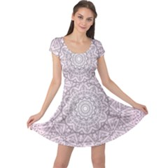 Pink Mandala art  Cap Sleeve Dress
