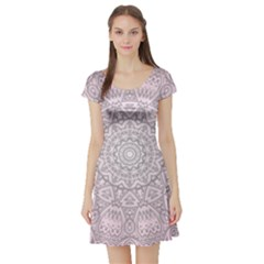 Pink Mandala art  Short Sleeve Skater Dress
