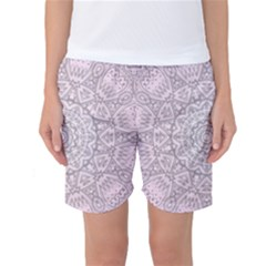 Pink Mandala art  Women s Basketball Shorts