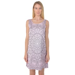 Pink Mandala art  Sleeveless Satin Nightdress